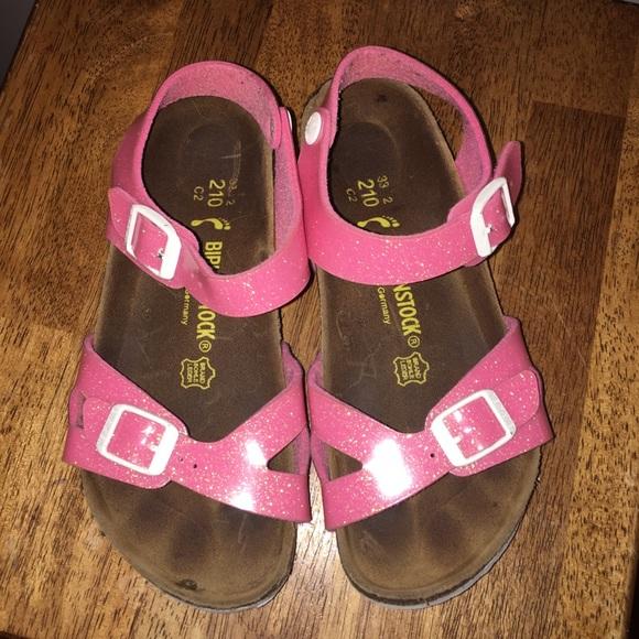 a360d5f86612 Birkenstock Other - Girls Birkenstock Pink Sparkly Sandals Size 33